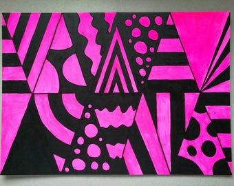Black and Pink Op art painting
