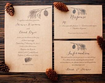 Rustic Wedding Invitations, Woodland Invitations, Kraft Paper Wedding Invitations, Set of 25