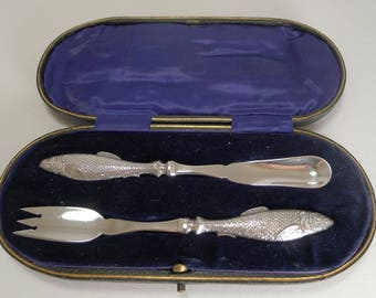 Rare Antique English Sterling Silver Fish Set - Harrods - 1912