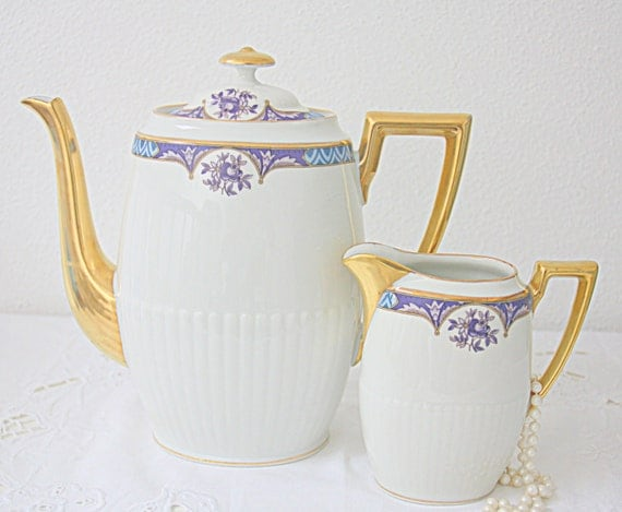 Lovely Vintage Limoges Porcelain Oval Coffeepot/Teapot and Creamer, Blue and Purpler Decor, Gilded Sprout and Handles, France