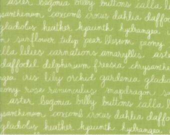 Olive's Flower Market - Flower Script Green - Sold by the Half Yard