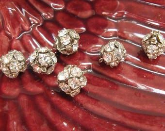 Six Vintage Round Rhinestone Buttons~~Plus One For Extra Stones Free