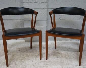 Vintage Pair of Johannes Anderson Teak & Leatherette Open Arm Chairs