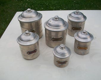 Kitchen Canisters//Canisters//Canister Set//Kitchen Canister Set//French Canisters//Antique Canisters//Aluminum Canisters//Found And Flogged