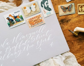 Romantic modern calligraphy wedding / party / event envelopes - custom calligraphy addressing
