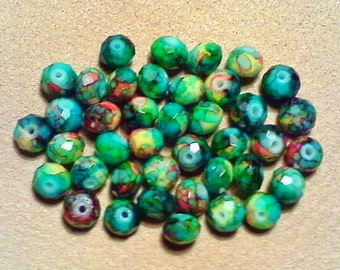 Faceted glass beads; cool multicolored, millefiori-type, faceted glass rondelles, 7x5mm, 16pcs/1.80.