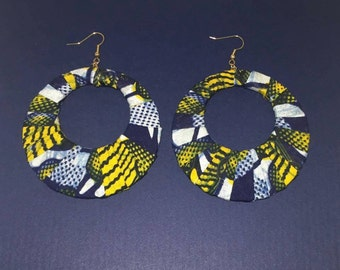 Kente Fabric Hoop Earrings