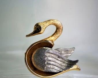 Vintage Two-Tone Swan Brooch