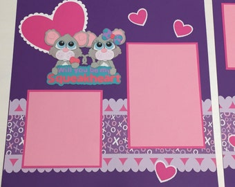 Valentine's Day Mice Premade Scrapbook Pages