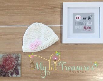 Baby Crochet Hat,Crochet Beanie,Handmade Crochet, Ivory with Pink Flowers