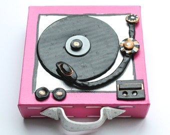 Pink Mini Retro Record Player, Unique Wall Art, Music Lovers Art, Canvas, Clay,