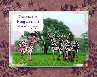 Zebra with a Sun Hat;  All proceeds from this card go to help Ugandan Orphans. Paper and party supplies, Paper, Stationary, note cards, art
