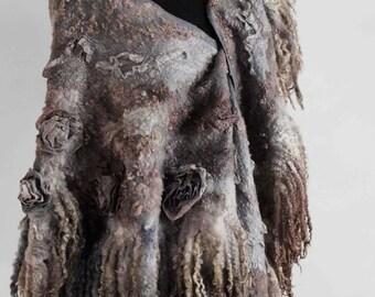 Dark Grey Brown Boho Style Fashion merino wool nuno felted shawl wrap. OOAK. High fashion ware. Vintage Warm beautiful Wool silk stole.