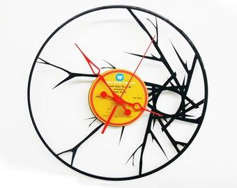 Blare Abstract Vinyl Record Clock, Abstract Wall Clock, Wall Clock with Branches, Wall Art Vinyl Record Art, Custom Clocks