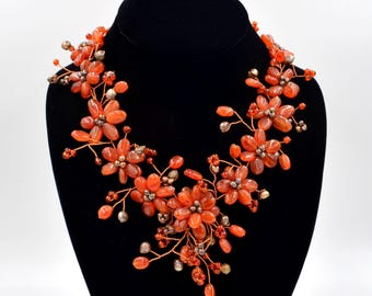 Carnelian & Freshwater Pearl Hand Wired Flower Beaded Statement Necklace