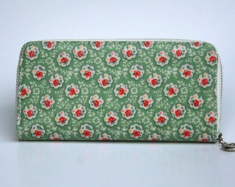 Womens Wallet, Leather Wallet, Green Floral Wallet, Floral printed Purse, Floral Leather Purse, Floral Leather Wallet.