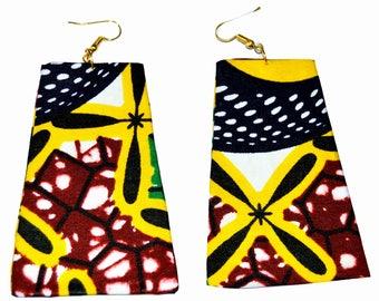 Earrings in African print fabric