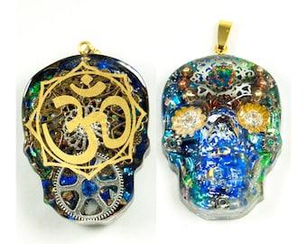 Organelle skull pendant gold plated chain 18 k size 70cm