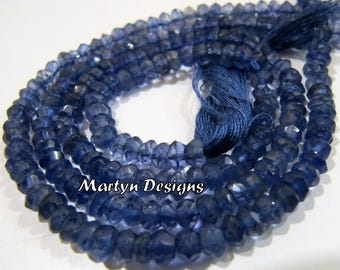 "AAA Quality Rondelle Faceted Iolite 4-5mm Size Beads , Micro Faceted Natural Iolite Beads , Length 13"" long , Semi Precious Gemstone Beads"