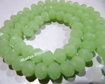 Super Quality Green Hydro Quartz Rondelle Faceted Beads , 70 to 75 Beads approx per Strand , 8mm Size Beads, Green Chalcedony Far Size Beads