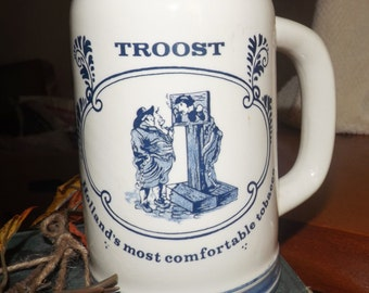 "Vintage (c.1970s) TROOST ""Holland's Most Comfortable Tobacco"" Hand-painted, Delft Beer Stein. Made in Holland."