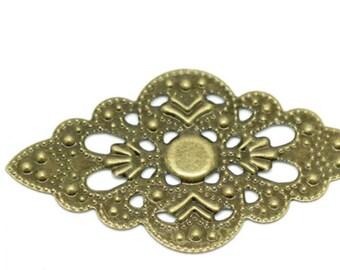 Antique Bronze Tone Metal Filigree - 8 Pieces