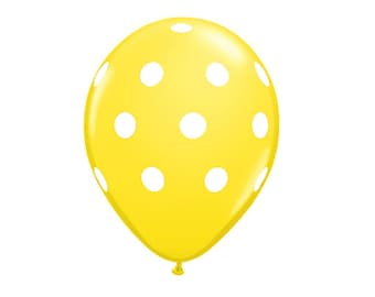 Pack of 5 Latex Balloons Yellow Polka Dots, Yellow Balloon, Yellow Party Decor, Yellow Balloons, Yellow Party Balloons, Party Balloons.