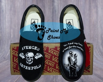 Avenged Sevenfold, Vans, Slip ons, hand painted shoes, Hand made, free shipping in the US