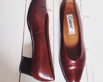 Vintage classic ladies Gabor heel brown leather shoes| slip on shoes| 1.5 inch heels• Size UK 6