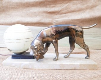 French Art Deco lamp with hunting dog hound