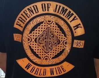 NA - FRIEND Of JIMMY K  - Black & Orange T-Shirt - S-5X -Black - 100% cotton.  Narcotics Anonymous