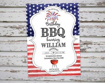 4th of July Birthday BBQ Invitation, 4th of July Barbeque Invite, July 4th Birthday Invitation, July 4th Backyard Invitation,  DIGITAL FILE