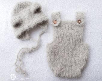 Romper and Teddy bonnet set, NB Romper, 3-6 months Romper, 6-9 months Romper,12 month romper,grey romper,