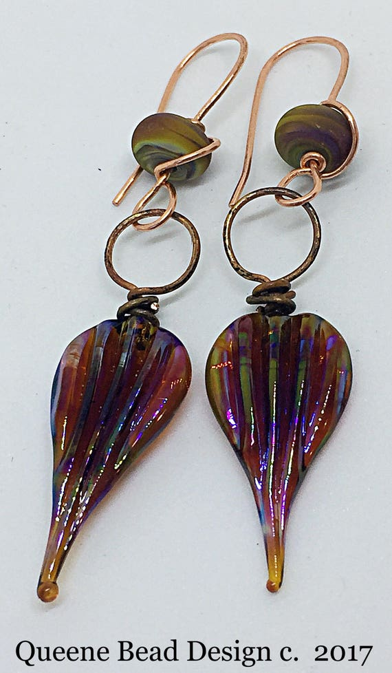 Sunset Leaves Earrings #queenebead