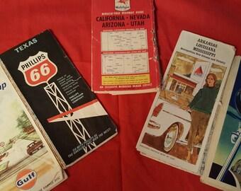 5 Vintage Travel Maps - 1940's 1960's