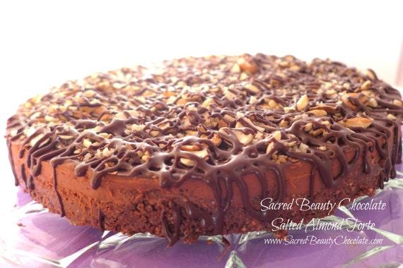Chocolate Salted Almond Torte - Decadent, Raw, Organic, Vegan, GLUTENFREE, Soy-free, Low-Glycemic Sweetened LOCAL PICKUP