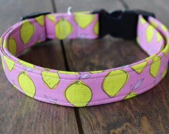 "Dog Collar- ""Pink Lemons"" / Girl Dog Collar/ Boy Dog Collar/ Metal or Plastic Buckle/ Adjustable Durable Collar"
