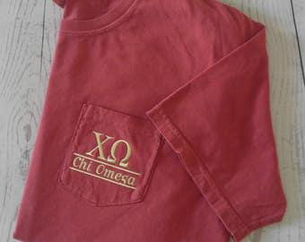 Sorority shirts, Chi Omega, Sorority T Shirt, Greek Letter shirt, Pocket T Shirt, Monogrammed Pocket T, Personalized T Shirt