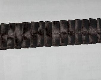 Box Pleated Grossgrain Ribbon Trim Dark Brown by the Yard