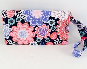 Purple Flowerbomb Phone Wristlet
