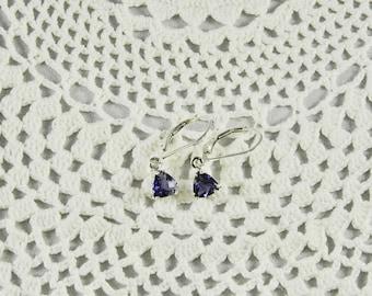 Iolite 6 MM 1.20 TCW Trillion Cut Sterling Silver Leverback Earrings