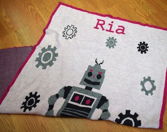 Robot Knit Throw Pink or Blue