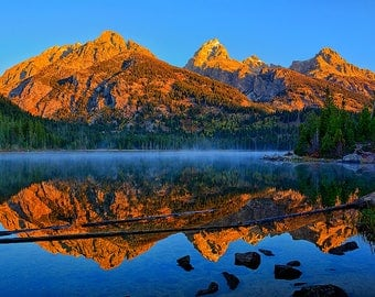 Grand Teton National Park First Light At Taggart Lake Fine Art Giclée Print, Modern Wall Art, Nature Scenery from Jackson Hole Wyoming