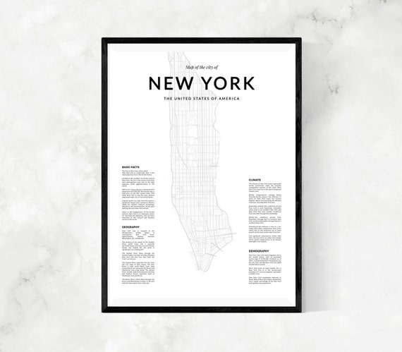 carte de new york carte en noir et blanc de new york carte. Black Bedroom Furniture Sets. Home Design Ideas