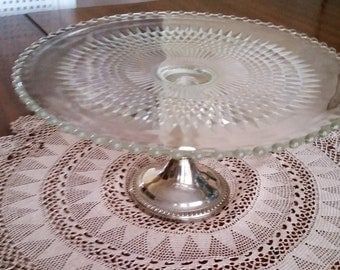 Vintage Imperial Glass Co  Candlewick Cake Stand with Shrewsbury Holloware Stand