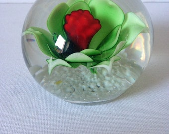 Glass Paperweight, Glass Paper Weight, Flower Paperweight, Paper Weight, Paperweight, Office Desk Accessories, Desk Gift, Small Gift, Glass