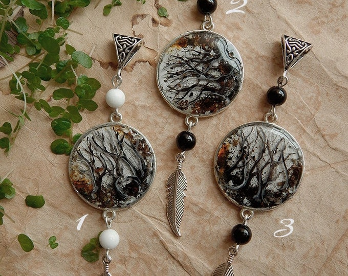 Epoxy resin round pendant whis ash and earrings, 3D painting tree branch, black agate jewelry, feather necklace, unique art, black and white