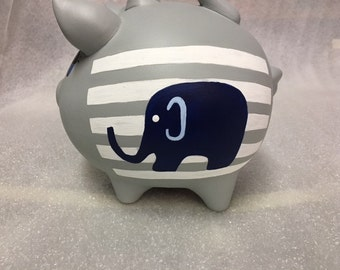 Piggy Bank: BLUE ELEPHANT   Personalized