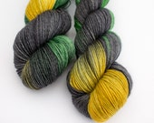 Loki - Norse God Myth - Hand Dyed Yarn - fingering weight 4ply Sock yarn - 100g skein merino - Black Green Gold high twist Sock weight yarn