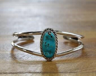 Vintage Navajo Turquoise Sterling Silver Cuff Bracelet